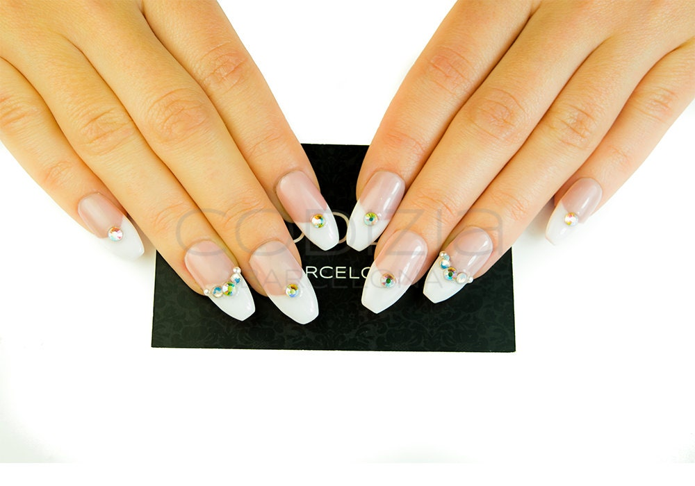 French with Crystals Nails, Made with UV Gel, Fake Nails, False ...