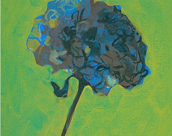 Hortensie, Druck, Kunstdruck, Garten, Pflanze, Herbst, Wanddekoration