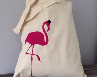 Flamingo in a top hat reusable cotton tote bag. Hand painted carrier bag. Canvas shopping bag, gift for her, canvas shopper, market bag
