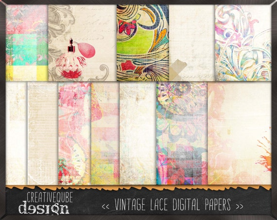 Shabby Chic Digital paper, Digital Scrapbook paper pack, Instant download, 12 Digital Papers, Vintage shabby chic