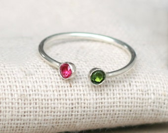 dual birthstone ring. two stone ring. gemstone couples ring. sterling silver. double birthstone ring. stacking ring.