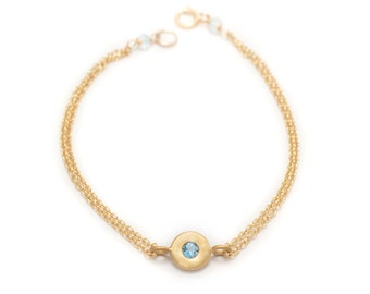 Floating Aquamarine Bracelet - Gold Vermeil - Double Chain Bracelet - Chain and Gemstone Bracelet