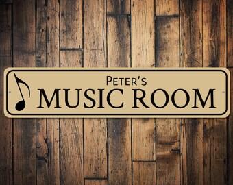 Music Room Sign, Music Note Decor, Gift for Musician, Singer Name Sign, Music Lover Gift, Metal Music Decor - Quality Aluminum ENS1002578