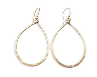 Bronze Hoop Earrings - Teardrop Hoop - Large Gold Hoop - Hammered Hoop - Women's Jewelry - Boho Chic Earrings - Fremont Hoops