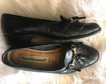 80s Leather Flats Kiltie Fringe Loafers