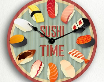 Sushi Time Silent Wall Clock