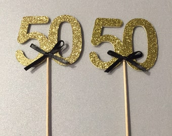 Birthday cupcake toppers, 50th birthday decor, birthday decorations, 50th bday party, 50th birthday, 50th birthday gold, 50th cake topper