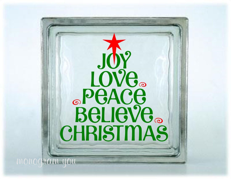 Christmas Glass Block Decal Christmas Vinyl Decal Joy Love - Glass block vinyl decals