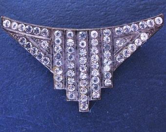 Classic Art Deco Clear Diamente Brooch