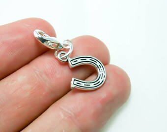 Lucky Horseshoe Charm. Silver Horseshoe Charm. Clip on Lucky Charm. SCC383