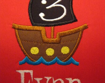 Personalized Pirate Ship Birthday Shirt shown here as 3rd birthday shirt