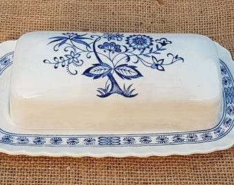 "Vintage ""Blue Nordic"" Hand Engraving ""Johnson Brothers"" Ironstone Butter Dish! Made in England!"