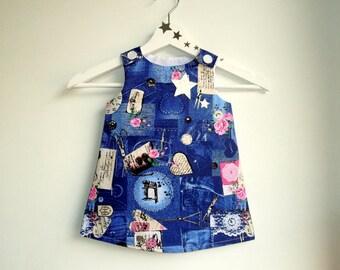 """Dress """"ZOÉ"""" 6-24 months birthday gift, evolutionary, look denim, cotton, pink blue"""