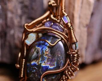 Laboradorite, Tanzanite, and opal pendant