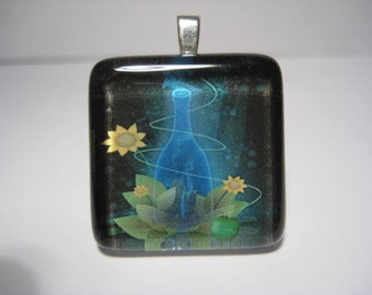 Magic Potion with Sunflowers Glass Tile Pendant