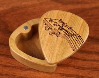 "Guitar Pick Box, 2-1/4"" x 2"" x 1 D"", Fret Deep, Solid Cherrywood, Laser Engraved, Paul Szewc"