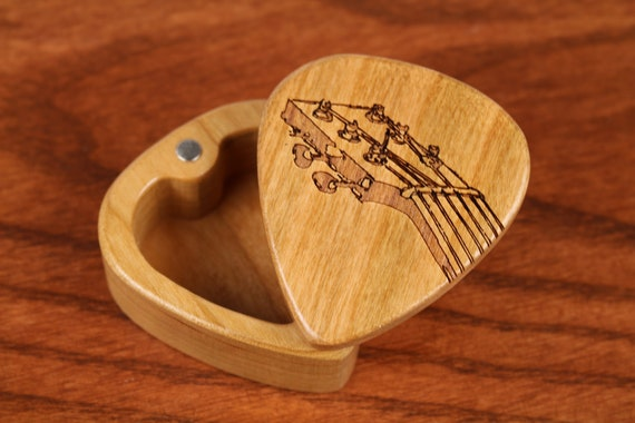 "Guitar Pick Box, 2-1/4"" x 2"" x 1 D"", Fret Deep, Solid Cherrywood, Laser Engraved, Paul Szewc"