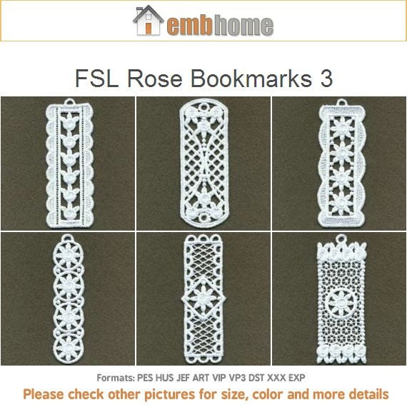 Free Standing Lace Bookmarks Embroidery Designs