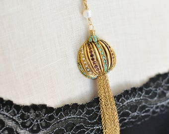 Vintage Dangle Gold Jellyfish Teal, Ruby and Pearl Rhinestone Tassel Pendant Necklace, Mogul Style