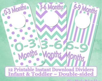 Printable 12 Baby Toddler Double-Sided Closet Dividers Mint Lavender Dots Stripes Chevrons Sizes NB-6 - DIY Instant Download - Nursery