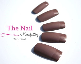 Matte Chocolate Brown Fake Nails -Matte Brown Nails with glossy Tips - French Style Nail Set -  Square Shape Nails - Handpainted False Nails