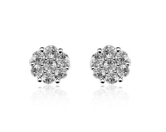 1.02 Carat Diamond Stud Earrings 14K White Gold