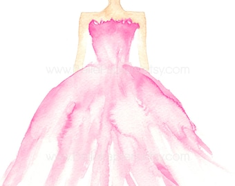 Fashion Illustration | Fashion Painting | Watercolor Fashion | Runway Model Prints | Swarovski Dresses | Fashion Model Decor | Crystal Dress