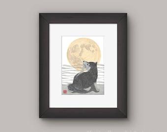 Shiba Inu Art, Black Shiba Inu, Super Moon, Modern Japanese Art, 柴犬
