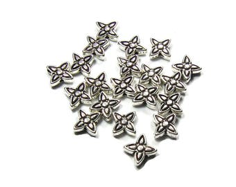 40 beads flower antique silver, 6mm x 6.5 mm in size
