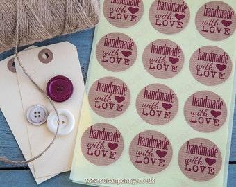 Handmade with Love Kraft Brown Sticker 40mm (1 1/2in) Kraft Stickers, Envelope Seals, Labels, Parcel Stickers -  PSS054