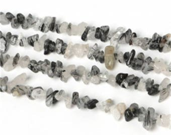 Black Quartz stone 3-5 mm approx - coral bead
