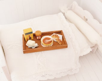Miniature french breakfast tray -Miniature chocolate, croissants, jam and butter- Dollhouse miniature food 1:12 - Miniature bakery