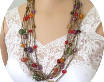 Multi  Strand multi color Glass beads    Necklace #021