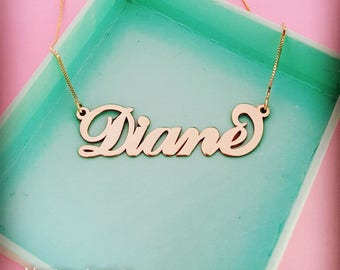 Diane Name Necklace/Diane Necklace/14K Gold Name Necklace/Gold Name Necklace/Solid Gold Necklace/Personalized Gift/Custom Necklace