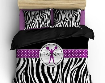 Memorial On Sale Personalized Custom Bedding Cheering Zebra - available Toddler, Twin, Full/Queen or King Size