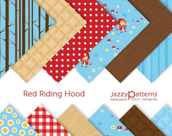 Digital paper pack Red Riding Hood in blue DP098 - Instant download