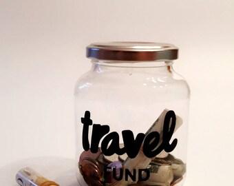 Travel Fund Jar - Adult Piggy Bank - Savings Jar - Money Box - Vacation Savings - Large Coin Bank - Travel Gift - Travel Fund