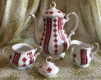 Edelstein Bavaria Maria-Theresia Made in Germany Teapot with Creamer and Sugar Bowl