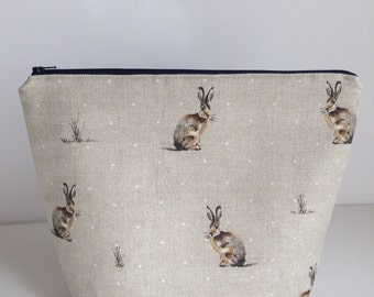 Hare bag - knitting project bag, craft storage, zippered pouch