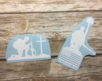 Memorial Day Decor, Soldier Decal, Independence Day Decal, Military Decal, Truck Decal