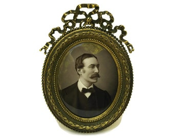 Mathieu Deroche  Miniature Enamel Portrait in Bronze Frame.