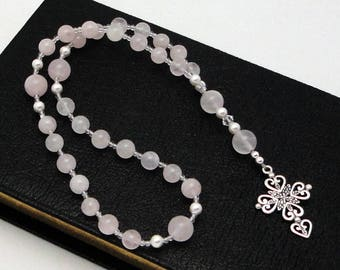 Anglican Rosary / Protestant Prayer Beads in Rose Quartz with Sterling Silver Cross