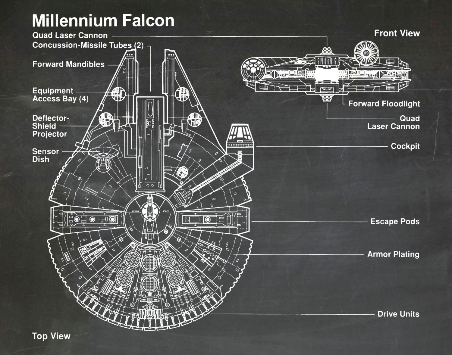 wall outlet engineering diagram star wars millennium falcon art print wall poster