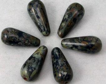 Czech Glass Teardrop Beads, Dark Blue Picasso, 20 mm, 6 Pc. C560