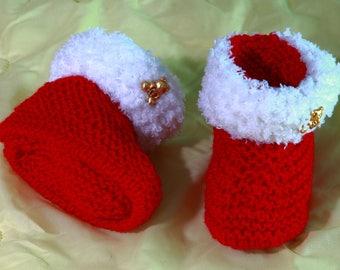 """Teddy"" wool baby booties"