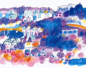 Orange Fields Castle original illustration