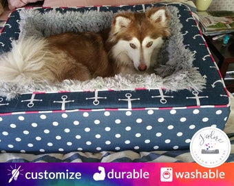 Plush Pet Bed with your choice of fabrics | Luxury Blanket Dog Bed | Gray, Navy, Nautical, Anchors, Design Your Own!