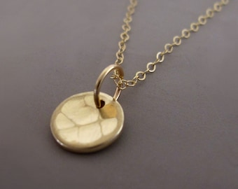 "14k Yellow Gold Necklace Hand Hammered Recycled Gold 5/16"" Free Shipping"