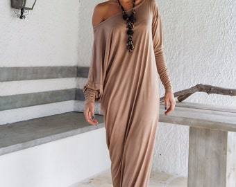 Maxi Dress / Kaftan / Taupe Maxi Dress / Plus Size Dress / Long Sleeve Dress / Maternity Dress / Evening Dress / Elegant /  #35045
