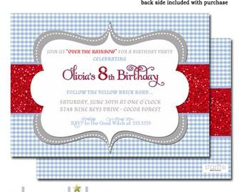 Wizard of Oz Birthday Invitation, Wizard of Oz Birthday Invite, Blue Gingham Red Glitter Wizard of Oz Birthday Invitation ANY AGE, Printable